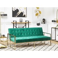 Velvet Sofa Bed Green MARSTAL - BELIANI