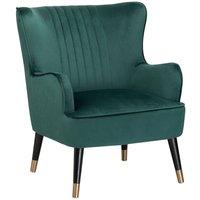 Velvet Wingback Chair Emerald Green VARBERG - BELIANI