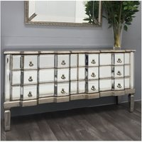 Venetian Mirrored Chest Drawers Antique Silver Sideboard Large Vintage Cabinet - UNIQUE-HOME-FURNITURE