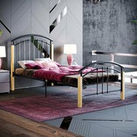 Venice Single Metal and Wood Bed, Black - HOME DISCOUNT