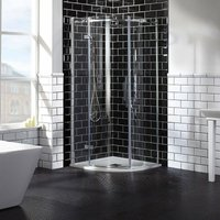 Aquaglass Elegance LH Hinged Offset Quadrant Shower Enclosure 900mm x 760mm Wide - 8mm Glass - Verona