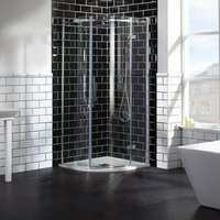 Aquaglass Elegance RH Hinged Offset Quadrant Shower Enclosure 900mm x 760mm Wide - 8mm Glass - Verona