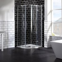 Verona Aquaglass Elegance RH Hinged Quadrant Shower Enclosure 1000mm x 1000mm Wide - 8mm Glass