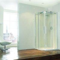 Aquaglass+ Frameless Offset Quadrant 2 Door Shower Enclosure 1200mm x 800mm - 8mm Glass - Verona