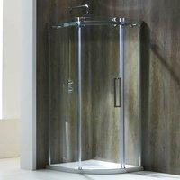 Aquaglass+ Frameless Quadrant 1 Door Shower Enclosure 800mm x 800mm - 8mm Glass - Verona