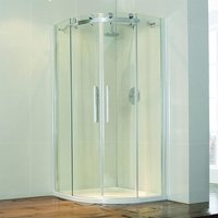 Aquaglass+ Frameless Quadrant 2 Door Shower Enclosure 800mm x 800mm - 8mm Glass - Verona