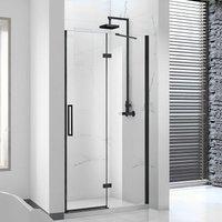 Aquaglass Onyx Black Framed Hinged Shower Door with Inline Panel 1400mm Wide - 8mm Glass - Verona