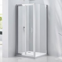 Verona Aquaglass Purity Bi-Fold Shower Door 900mm Wide - 6mm Glass