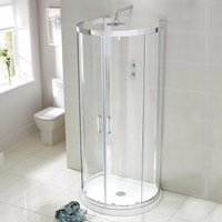 Aquaglass Purity D Shaped Shower Enclosure with Tray 900mm x 770mm - 6mm Glass - Verona