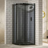 Aquaglass+ Sphere Offset Quadrant 1 Door Shower Enclosure 1000mm x 800mm - LH Smoked Glass - Verona