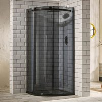 Verona Aquaglass+ Sphere Offset Quadrant 1 Door Shower Enclosure 1200mm x 800mm - LH Smoked Glass
