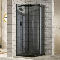 Aquaglass+ Sphere Quadrant 1 Door Shower Enclosure 900mm x 900mm - 8mm Smoked Glass - Verona