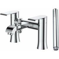 Verona Basque Bath Shower Mixer Tap Lever Handle with Shower Handset - Chrome