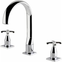 Chancery 3-Hole Basin Mixer Tap with Waste Deck Mounted - Chrome - Verona
