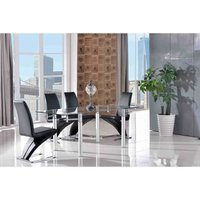 Verona Extending Glass Dining Table with 4 Zed Designer Dini