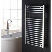 Flat Designer Heated Towel Rail 825mm H x 600mm W Chrome - Verona