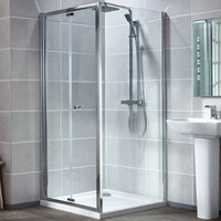 Uno Bi-Fold Shower Door with Tray 700mm x 700mm - 6mm Glass - Verona