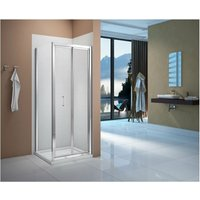 Vivid Bi-Fold Shower Door with Square Shower Tray - 760mm Wide - Verona
