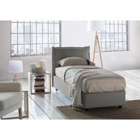 Veronica Single bed with removable Side Opening Container Made in Italy Grey - TALAMO ITALIA