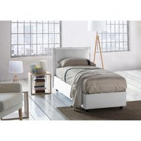 Veronica Single bed with removable Side Opening Container Made in Italy White - TALAMO ITALIA