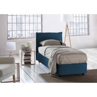 Veronica Single bed with removable Side Opening Container Made in Italy Blue with Mattress - TALAMO ITALIA