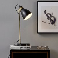 Quincy Table Lamp with Black Marble Base Black/Antique Brass VN-L00058-UK - Versanora