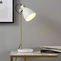 Quincy Table Lamp with White Marble Base White/Antique Brass VN-L00057-UK - Versanora