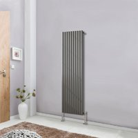 Vertical Anthracite Designer Radiator Tall Upright 1600x590 Oval Column Single Panel Central Heating - NRG