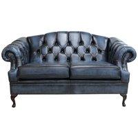 Designer Sofas 4 U - Victoria 2 Seater Chesterfield Leather Sofa Settee Antique Blue Leather