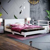 Victoria King Size Bed, Light Grey Linen - HOME DISCOUNT