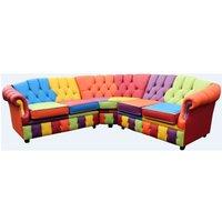 Victoria Patchwork Corner Chesterfield 2 Seater + Corner + 2 Seater Leather Sofa Settee - DESIGNER SOFAS 4 U