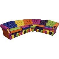 Victoria Patchwork Corner Chesterfield 3 Seater + Corner + 2 Seater Leather Sofa Settee - DESIGNER SOFAS 4 U