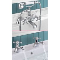 Victorian Tap Set - Basin Taps and Bath Shower Mixer - NESHOME