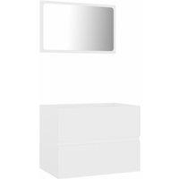 2 Piece Bathroom Furniture Set White Chipboard - White - Vidaxl