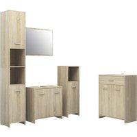 vidaXL 4 Piece Bathroom Furniture Set Sonoma Oak - Brown
