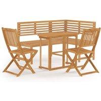 4 Piece Bistro Set Solid Acacia Wood - Brown - Vidaxl