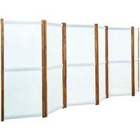 6-Panel Room Divider Cream White 420x170 cm - Cream - Vidaxl