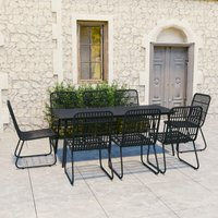 vidaXL 9 Piece Outdoor Dining Set Poly Rattan and Glass - Black