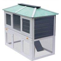 Animal Rabbit Cage Double Floor Wood - White - Vidaxl