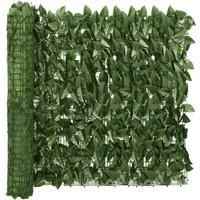 Balcony Screen with Dark Green Leaves 500x75 cm - Green - Vidaxl