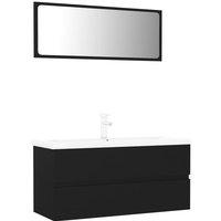 vidaXL Bathroom Furniture Set Black Chipboard - Black