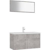 Bathroom Furniture Set Concrete Grey Chipboard - Grey - Vidaxl