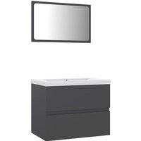 vidaXL Bathroom Furniture Set Grey Chipboard - Grey
