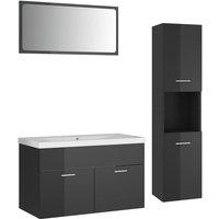 Bathroom Furniture Set High Gloss Grey Chipboard - Grey - Vidaxl