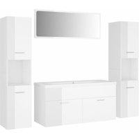 Bathroom Furniture Set High Gloss White Chipboard - White - Vidaxl