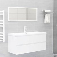 vidaXL Bathroom Furniture Set High Gloss White Chipboard - White