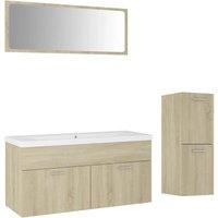 vidaXL Bathroom Furniture Set Sonoma Oak Chipboard - Brown