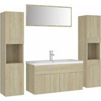 Bathroom Furniture Set Sonoma Oak Chipboard - Brown - Vidaxl