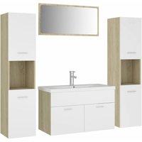 Bathroom Furniture Set White and Sonoma Oak Chipboard - Beige - Vidaxl