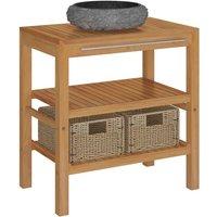 Bathroom Vanity Cabinet Solid Teak with Sink Marble Black - Brown - Vidaxl